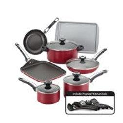 Farberware High Performance Nonstick Aluminum 17-Piece Cookware Set, Red