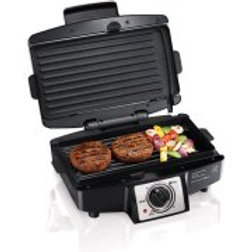 """Hamilton Beach 4-Burger 110"""" Grill with Removable Grids"""