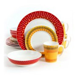 Gibson Lockhart 16pc Dinnerware Set in Red and Yellow
