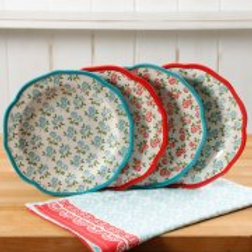 """The Pioneer Woman Timeless Floral Mix and Match 8.5"""" Salad Plate Set, Set of 4"""