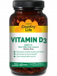 Country-Life,Vitamin D3 2,500 I.U. (60-Softgel)