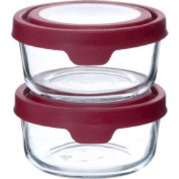 Anchor Hocking 4-Cup TrueSeal Food Storage Set with Red Lids, 2-Pack