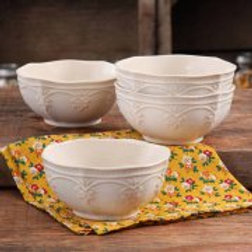 The Pioneer Woman Farmhouse Lace Bowl Set, 4-Pack