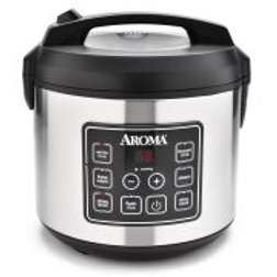Aroma 20-Cup Programmable Rice Cooker, Slow Cooker and Food Steamer, Stainless S