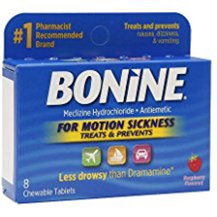 Bonide for Motion Sickness Chewable Tablets, Raspberry Flavored, 8 Each  Bonide