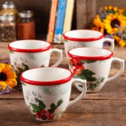 The Pioneer Woman Flea Market 17 oz Decorated Coffee Cups, Country Garden, Set o