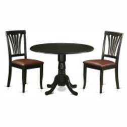 East West Furniture Dublin 3 Piece Round Dining Table Set with Faux Leather Avon