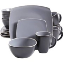 Gibson Soho Lounge Matte 16pc Dinnerware Set, Gray/Black