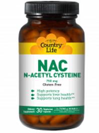 Country-Life,NAC 750 mg N-Acetyl Cysteine (30-Vegicaps)