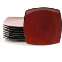 """Gibson Home Soho Lounge 7.5"""" Square Dessert Plates, Red, Set of 8"""