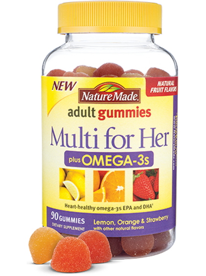 Multi for Her plus Omega-3s Adult Gummies  Read more at http://www.naturemade.co
