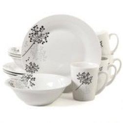 Gibson Home 12-Piece Trace Dinnerware Set, 4 Assorted Colors: Service for 4 Incl