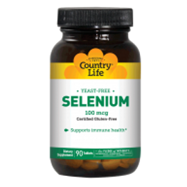 Country-Life,SELENIUM 100 MCG Yeast Free (90-Tablet)