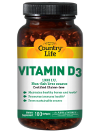 Country-Life, Vitamin D3 1,000 I.U. (100-Softgel)