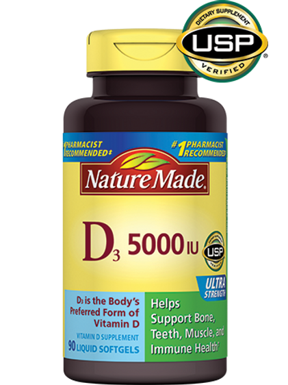 Vitamin D3 5000 IU Ultra Strength Liquid Softgels