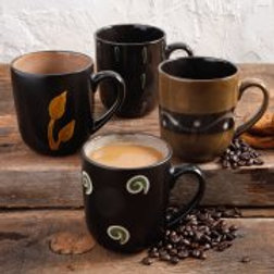 Gibson Home Ground Sprouts 16 oz Assorted Design Mugs, Set Of 4