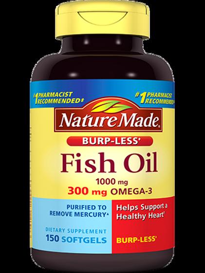 Fish Oil 1000 mg, Burp-Less Liquid Softgels