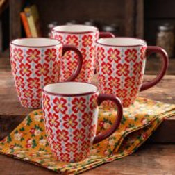 The Pioneer Woman Retro Daisy 26-Ounce Jumbo Latte Mug Set, 4-Pack