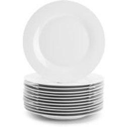 """10 Strawberry Street 10.5"""" White Dinner Plates, Set of 12"""