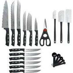 Farberware 22-Piece Wave Edge Cutlery Set with Block