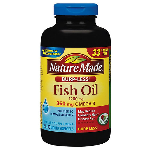 Fish Oil 1200 mg, Burp-Less Liquid Softgels