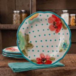 The Pioneer Woman Vintage Bloom 4-Pack Scalloped Dinner Plate Set