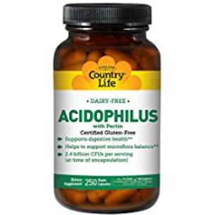 Country-Life,Dairy-Free Acidophilus (250-Vegicaps)