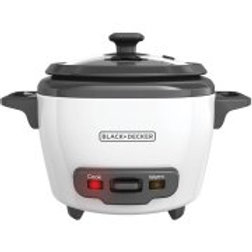 BLACK+DECKER 3-Cup Rice Cooker and Steamer Basket, White