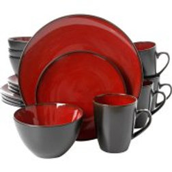 Gibson Soho Lounge Round 16pc Dinnerware Set, Burgundy