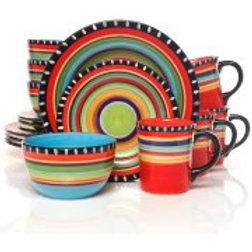 Gibson Home Pueblo Springs Handpainted 16-Piece Dinnerware Set, Multi-Color