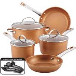 Farberware 12-Piece Colortech Aluminum Nonstick Cookware Set, Copper