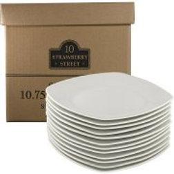 "10 Strawberry Street 10.5"" Square Dinner Plates, White, Set of 12"