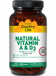 Country-Life, Natural Vitamin A and D3 10,000 I.U./400 I.U.