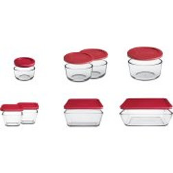 Anchor Hocking 16-Piece Kitchen Food Storage Set with Red Lids
