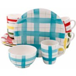Gibson Home 12-Piece Trace Dinnerware Set, 4 Assorted Colors