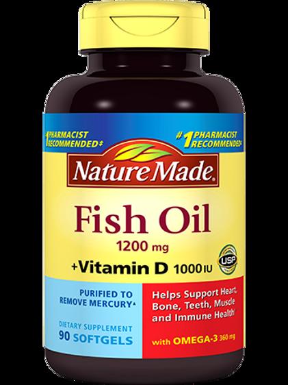 Fish Oil 1200 mg Plus Vitamin D 1000 IU Liquid Softgels
