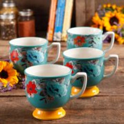 The Pioneer Woman Flea Market 15 oz Footed Decorated Mugs, Turquoise & Yellow, S