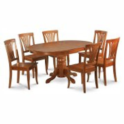 East West Furniture Avon 7 Piece Pedestal Oval Dining Table Set with Wooden Seat