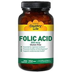 Country-Life,Folic Acid 800 mcg (250-Tablet)