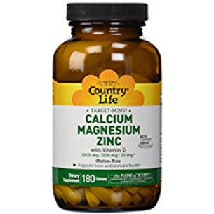 Country-Life,Calcium Magnesium Zinc with Vitamin D (180-Tablet)