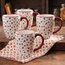 The Pioneer Woman Posies 26-Ounce Jumbo Latte Mug Set, 4-Pack