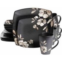 Gibson Studio 16-Piece Madame Floral Square Dinnerware Set, Black Cream Floral