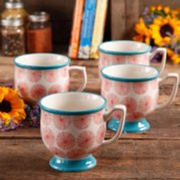 The Pioneer Woman Flea Market Happiness 15 oz Decorated Mugs, Red & Turquoise, S