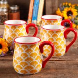 The Pioneer Woman Flea Market 18 oz Decorated Belly Mugs, Set of 4