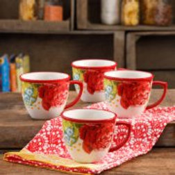 The Pioneer Woman Blossom Jubilee 16-Ounce Mug Set, Set of 4