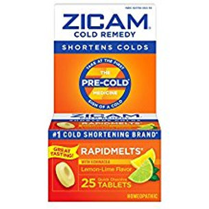 Zicam Cold Remedy Rapid Melts with Echinacea Tablets, Lemon-Lime Flavor, 25 Coun