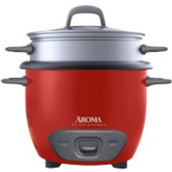 Aroma 14-Cup Rice Cooker and Food Steamer, Red