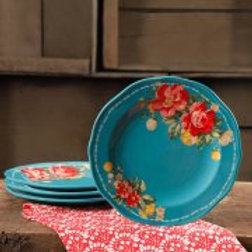 "The Pioneer Woman Vintage Floral Teal 8.5"" Salad Plate Set, Set of 4"