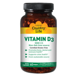 Country-Life,Vitamin D3 5,000 I.U (60-Softgel)