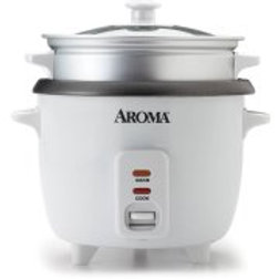 Aroma 6-Cup Rice Cooker And Food Steamer, White